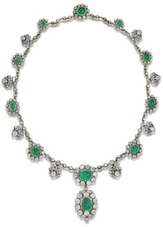 An antique cabochon emerald and diamond necklace, late 19th century. Designed…