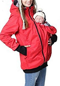 Moxeay Women 2 in 1 Waterproof Hoodie Maternity Outerwear Coat Kangaroo Jacket Baby Carrier (XL, Red Waterproof) #outfitoftheday * Find out more about the great sponsored product at the image link.