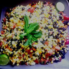 Roasted corn & black bean salad w/ citrus vinaigrette