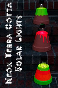 Fun, easy and cute idea for a unique outdoor lighting look! | Neon Terra Cotta Solar Lights by The Country Chic Cottage on Old Time Pottery's Do More for Less