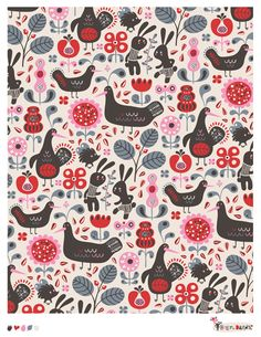 New Folklore pattern with flowers, birds and rabbits. Retro style.