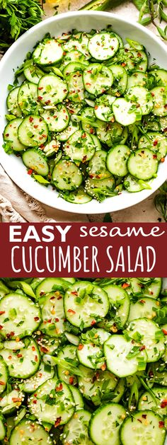 Searching for the perfect salad for summer? This Sesame Cucumber Salad has a cool crunch and a perfectly balanced taste, thanks to warm, nutty sesame oil and the gentle tang of rice vinegar. Jalapeno makes it pop! Healthy Side Dishes, Side Dishes Easy, Asian Cucumber Salad, Asian Recipes, Sweet Recipes, Keto Foods, Healthy Foods, Healthy Recipes, Baked Fish