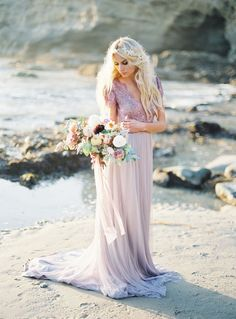 Amethyst Silk and Lace Wedding Dress with a Pastel Bouquet | Michael Radford Photography | The Perfect Wedding Dress for a Beach Bride!