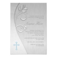 Blue and Gray First Communion Invitations