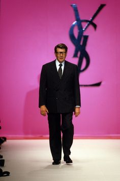 Yves Saint Laurent: Yves Saint Laurent during his Spring 1996 ready-to-wear show during Paris Fashion Week in January 1995.