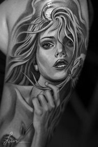 SEE MORE FANTASY LADY TATTOO ON UPPER ARM