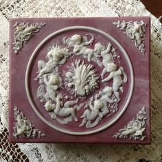 Large Incolay Trinket Jewelry Box A0573  Cherubs  At by BNDJewelry,