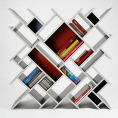 white abstract bookcase furniture for wall decor