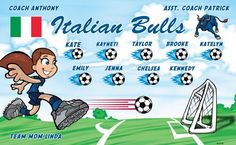 Italian Bulls B52700  digitally printed vinyl soccer sports team banner. Made in the USA and shipped fast by BannersUSA.  You can easily create a similar banner using our Live Designer where you can manipulate ALL of the elements of ANY template.  You can change colors, add/change/remove text and graphics and resize the elements of your design, making it completely your own creation.