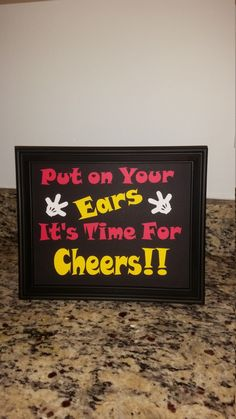 We've got ears completed sign with frame. Mikey Mouse Birthday by VannessasCreations on Etsy https://www.etsy.com/listing/267237773/weve-got-ears-completed-sign-with-frame