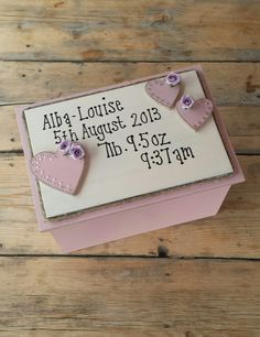 Baby girl keepsake memory box wooden gift