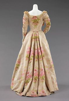 Worth evening dress, back view, ca. 1897. The Metropolitan Museum of Art, NYC, USA.