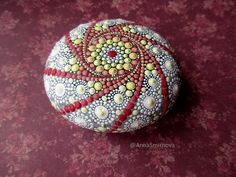 Jewel Drop Mandala Painted Stone. Hand painted by Anna