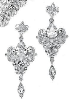 Art Nouveau Regal CZ Chandelier Earrings. 4 Colors. 2-3/4 - e741brd