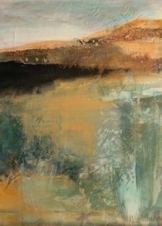 "Mixed Media Artists International: Abstract Mixed Media Landscape Painting ""Earth Vision"" by Intuitive Artist Joan Fullerton"