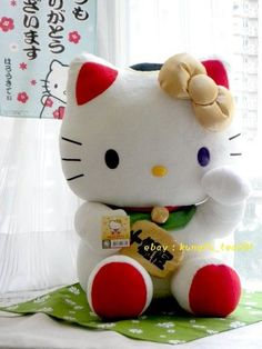 "HUGE Mascot Hello Kitty Lucky Wealth Maneki Neko Beckoning Cat Doll Plush 18"" Kawaii"