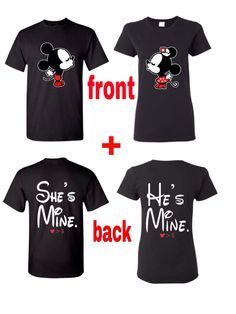 Im hers and Hes Mine Couples Disney Inspired T-shirt • Handmade • Men Size: S-XL and Women Size: S-XL • Gildan 100% cotton t-shirts used (Please