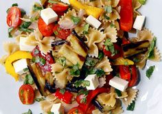 Whole-Wheat Farfalle Pasta Salad with Peppers, Eggplant, and Fresh Mozzarella image