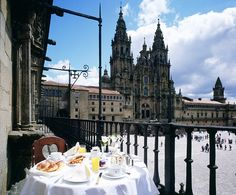 The terrace of Hostal dos Reis Catolicos in Santiago de Compostela, Spain