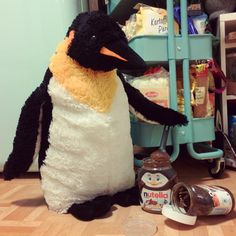 looks like somebody's in the mood for some pre-dinner nutella. mrs pungu wouldn't be too happy about this. let's hope mr pungu hides the evidence well! #penguin #penguins #pinguin #pinguine #pinguino #pinguinos #pinguim #pingouin #pingüino #ペンギン #пингвин #펭귄 #instabird #antarctica #stuffedanimal #pingu #pinguinito #nutella #ferrero #chocolatespread #cheatmeal #craving #yummy #nutellabaking #christmas #christmasiscoming #montythepenguin #johnlewis #johnlewisadvert #montypenguin #monty