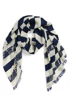 kate spade new york sequin embellished stripe scarf