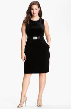 Alex Evenings Belted Velour Sheath Dress (Plus size) available at #Nordstrom