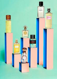 Colorful pillars for fragrance editorial photo styling. // Photography by Jess Bonham