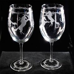 2 Country Western Wedding Wine Glasses Equestrian by bradgoodell