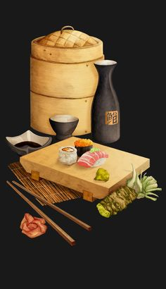 project presents a selection of Japanese food illustrations, created to be used on the restaurants menu and promotional material. As well as the illustrations this project shares elements of the creation and development of Sushi Box's branding and … Arte Do Sushi, Sushi Art, Japanese Food Art, Sushi Love, Watercolor Food, Food Painting, Food Drawing, Menu Restaurant, Food Illustrations