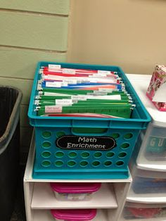 Stores all task cards or early finisher work, classroom organization, from Trendy Tales of a Teacher