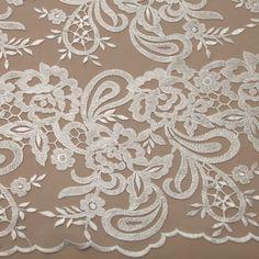 Tecido tule bordado off white - Maximus Tecidos | Loja Online