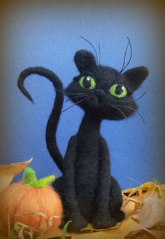 Black Cat - Needle Felted Cat and Pumpkin - Halloween Kitty via Etsy