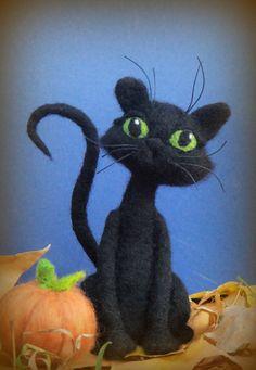 Black Cat - Needle Felted Cat and Pumpkin - Halloween Kitty via Etsy
