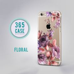 iPhone 6 Case Clear Floral iPhone 6S Case Clear Purple by 365case