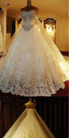 Luxury Tulle Sweetheart A-Line Wedding Dresses With Sequined Lace Appliques & Rhinestones, Wedding Party Ballroom Wedding Dresses, Dream Wedding Dresses, Wedding Gowns, Lace Wedding, How To Dress For A Wedding, Perfect Wedding Dress, Sheath Wedding Gown, Rhinestone Wedding, Wedding Attire