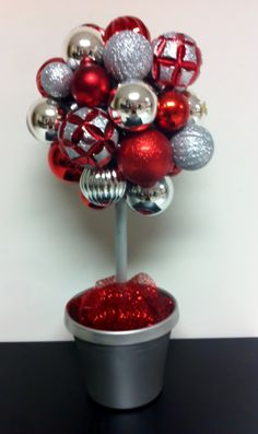 Red & Silver Ornament Topiary: Gorgeous Holiday Decoration. $45.00, via Etsy.
