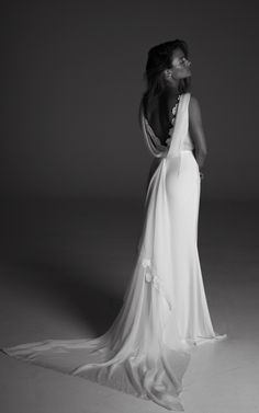 Louise, Rime Arodaky. Fitted dress in crepe and manually embroidered flowers. Cowl collar and silk mousseline train. #wedding #dress
