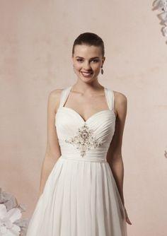 A-line Halter Sleeveless Beading Criss-cross_Back Sweep_Train Wedding Dresses (jwed1701610)