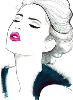 Beautiful black and white watercolor fashion illustration with a pop of hot pink by Jessica Durrant