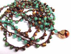 "Crochet beaded wrap bracelet, ""land and sea"", green turquoise, lariat, boho necklace, bohemian jewelry, crochet jewelry, fall fashion, ooak, via Etsy."