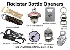 Rockstar bottle openers. Guitar, drums, skull, motorcycle, music notes and rock band themed beer bottle openers. Handheld openers, wall mounted openers, bartender's openers, keychain openers and more. #beer #bottleopener #rockstar #guitar #drumset #motorcycle #keychain #mancave #drinkware