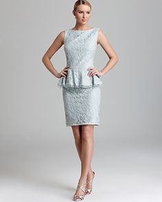 Tadashi Shoji Peplum Dress - Sleeveless Lace   Bloomingdale's