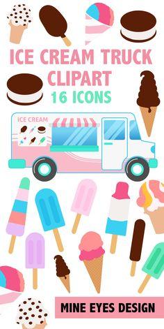 Ice Cream Truck Clipart Printable Summer Clipart Icons Etsy Ice Cream Clipart Ice Cream Truck Clip Art