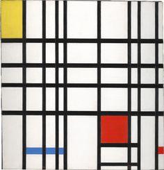 Compositie met geel, blauw en rood ~ 1937-1942 ~ Olieverf op doek ~ 72,2 x 69,2 cm. ~ Tate Gallery, Londen