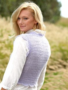 Cute Crocheted Vest Create this stylish lilac vest with free crochet patterns and instructions.