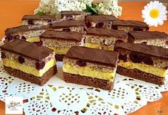Fantázia szelet Dessert Bars, Dessert Recipes, Torte Cake, Hungarian Recipes, Recipe Collection, Cake Cookies, Food And Drink, Sweets, Healthy Recipes