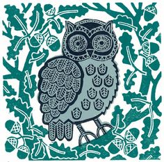"""""""Grey Owl"""" by Susie Lacome (linocut)"""