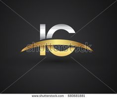 IC initial logo company name colored gold and silver swoosh design. vector logo for business and company identity.