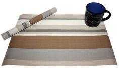 Brown strips 6pc Polyvinyl Place mat Sets  Size: Single mat dimension 30x45cm