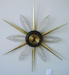Old Mid Century Modern Verichron Key Wind 8 Day Sunburst Starburst Wall Clock